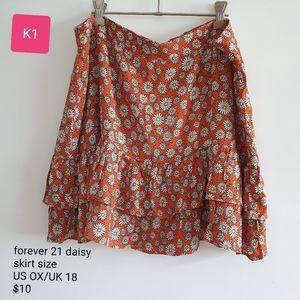 Daisy print ruffle hem mini skirt, size 18